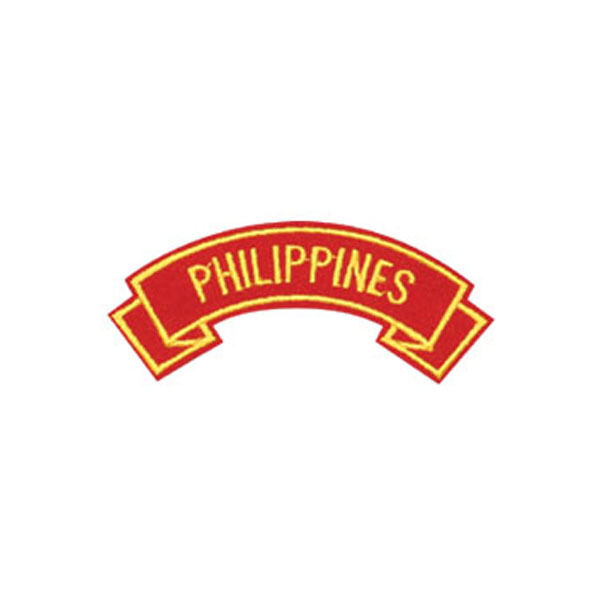MARINE CORPS PHILIPPINES  MILITARY EMBROIDERED USMC RED SHOULDER ROCKER PATCH