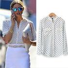Women Camisas Polka Dot Printing Tops White Blouse Long Sleeve Casual Shirt JR