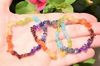 [3] Charged 7 Chakra Crystal Chip Stretchy Bracelet Reiki Energy Zenergy Gems™