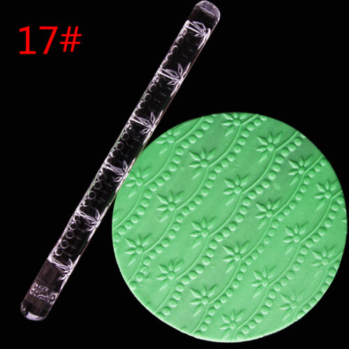 Embossing Acrylic Rolling Pin Fondant Sugar Craft Cake Baking Decorating To/_TI