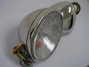 1928-1929-Ford-Model-A-Stainless-Headlights-Head-Lamps-w-Turn-Signal-12-volt