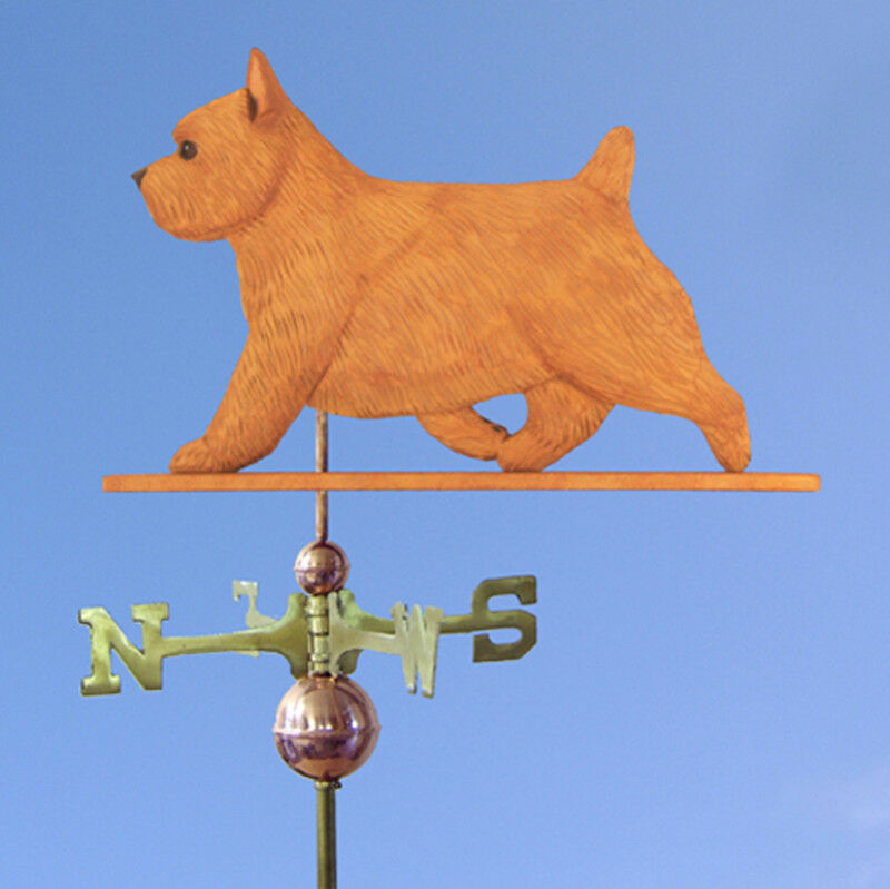 Norwich Terrier Hand Carved Hand Painted Basswood Dog Weathervane rot