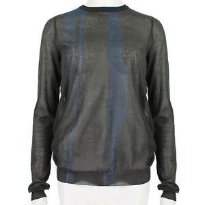 Nina-Ricci-Dark-Brown-Blue-Sheer-Knitwear-Jumper-Sweater-S-IT40-UK8