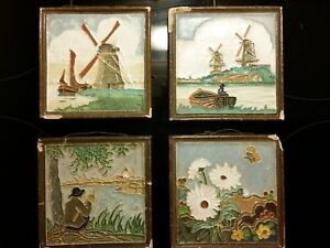 4-Dutch-Delft-Porceleyne-Fles-Cloisonne-Display-Tiles