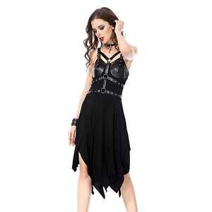 Dark In Love Gothic Punk Kleid Schwarz Lederriemen Leather Harness Dress Ebay