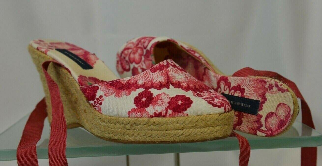 Burberry Wedge Sandals Espadrille Size 37 Lace Up Strap Floral Fabric Platform