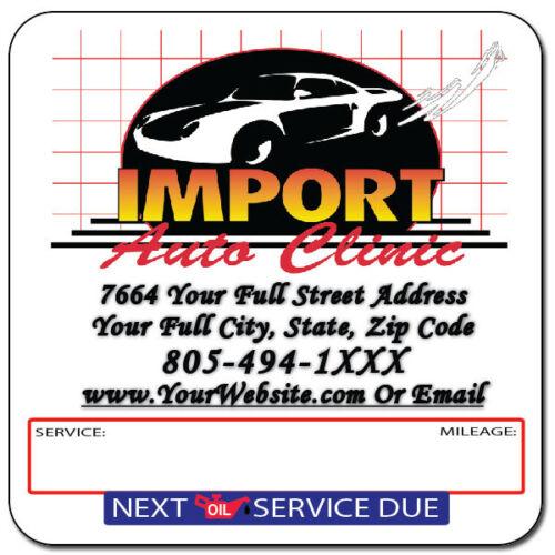 Oil Change Stickers Custom Full ColorQt 2000Free SetupOnly $0.10 ea.