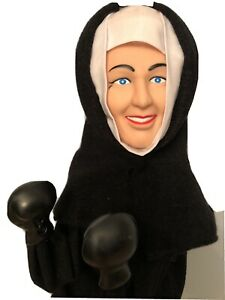 Boxing-Nun-Punching-Hand-Puppet-Toy-Vintage-13-034-Works-GREAT-1990s
