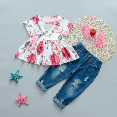 2PCS Toddler Kids Baby Girls Clothes Rose Tops+Denim Jeans Pants Outfits Set