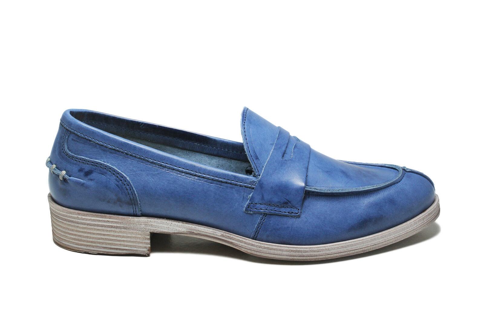 Venta de liquidación de temporada Descuento por tiempo limitado Mocassini College Loafers Scarpe Donna 36 Blu Jeans Vera Pelle Made Italy Estivi