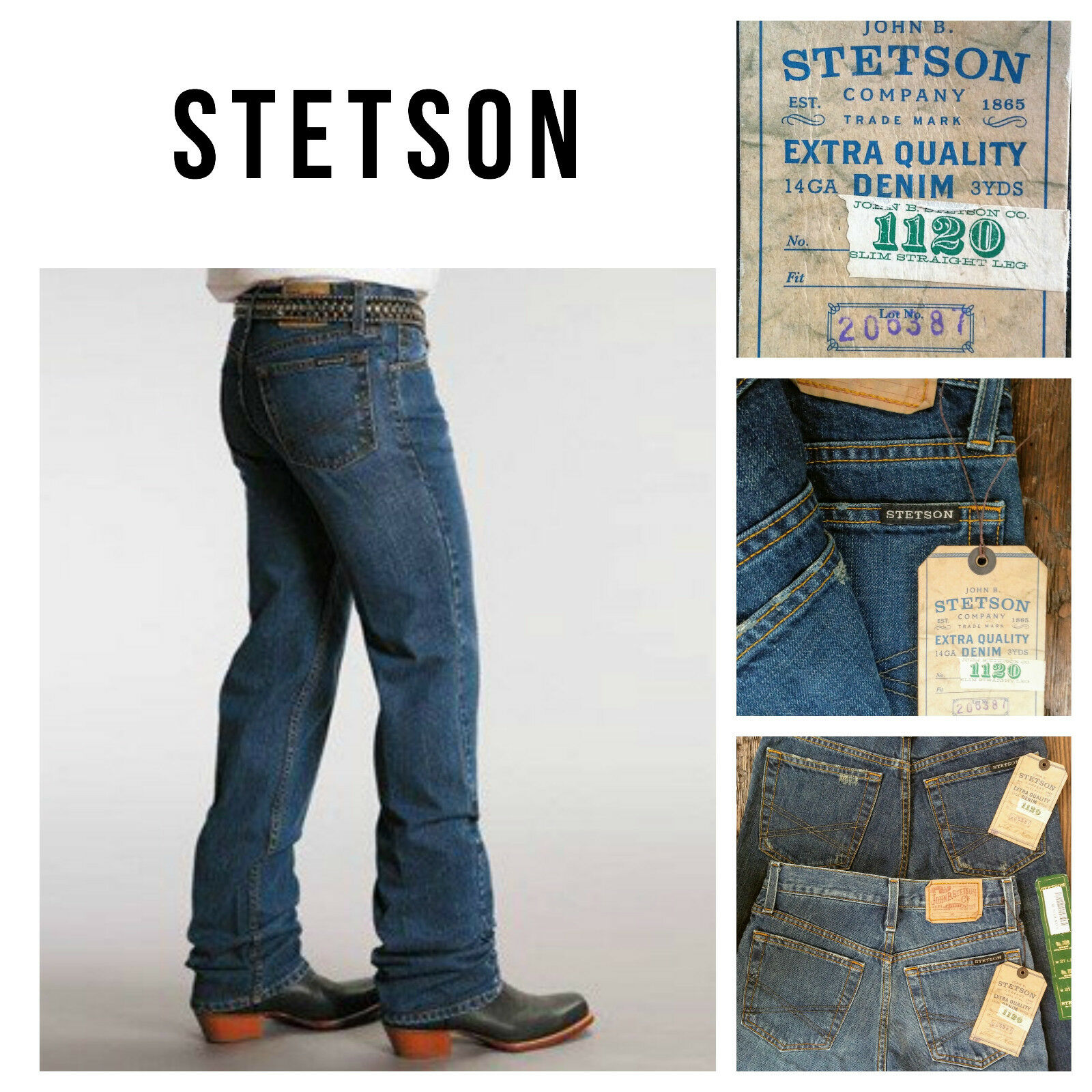 NEW  Stetson 2 Men's bluee Jeans Cowboy Western 27X38 Slim Straight Leg Tall