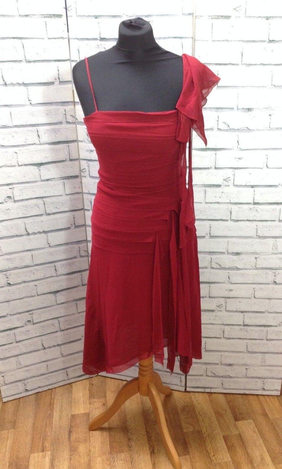 WHISTLES ONE SHOULDER RED SILK DRESS