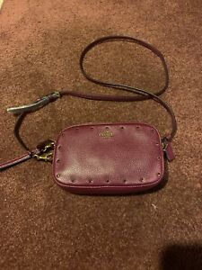 1013bb780b9a Image is loading COACH-Sadie-crossbody-clutch-with-crystal-rivets-DARK-
