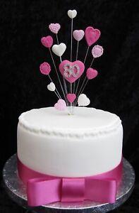 Peachy 80Th Birthday Cake Topper Pink White Embossed Hearts Ribbon Personalised Birthday Cards Akebfashionlily Jamesorg