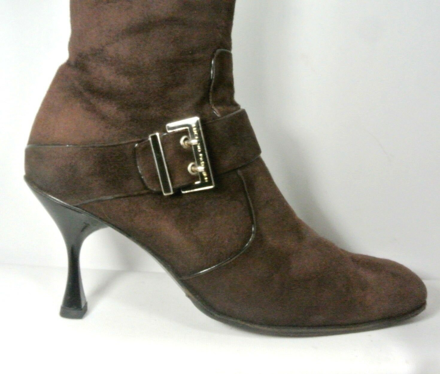 Luciano Damens Padovan Braun Suede Buckle Strap High Heel Boot Damens Luciano US10 Made in  e7ccdc