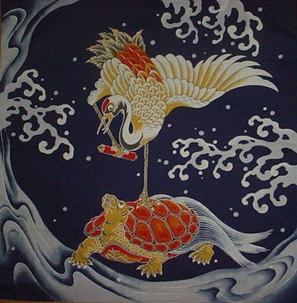 Furoshiki Wrapping Cloth Japanese Crane Fabric 'Crane and Turtle' Cotton 50cm