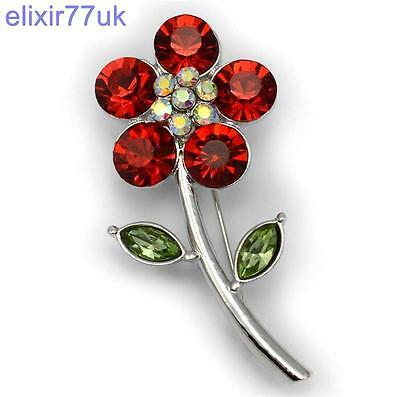 NEW LARGE POPPY PIN BROOCH RED DIAMANTE CRYSTAL VINTAGE COLLECTION BADGES SILVER