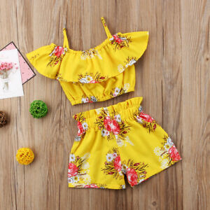 the best pretty cool the sale of shoes AU Toddler Kids Baby Girls Clothes Floral Ruffle T Shirt Tops Shorts ...
