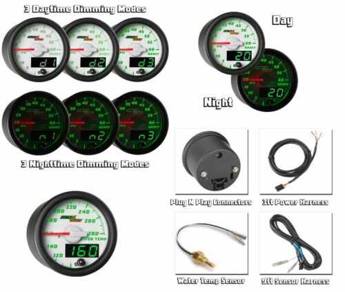 GlowShift MaxTow Double Vision White Water Temperature Gauge MT-WDV06