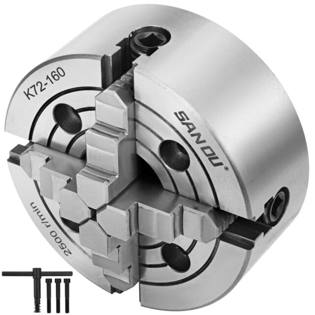 "8/"" 4-JAW LATHE CHUCK independent jaws w D1-6 D6 adapter semi-finish#0804F0-NEW"