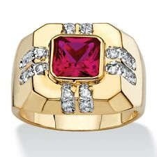 RED RUBY MENS 14K GOLD SQUARE CUT CZ GP  RING SIZE 8 9 10 11 12 13