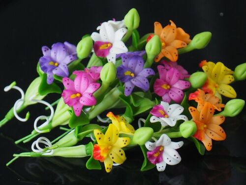 10 Pcs Miniature Handmade Colorful Nate Siri Orchid Clay Flower Home Decor