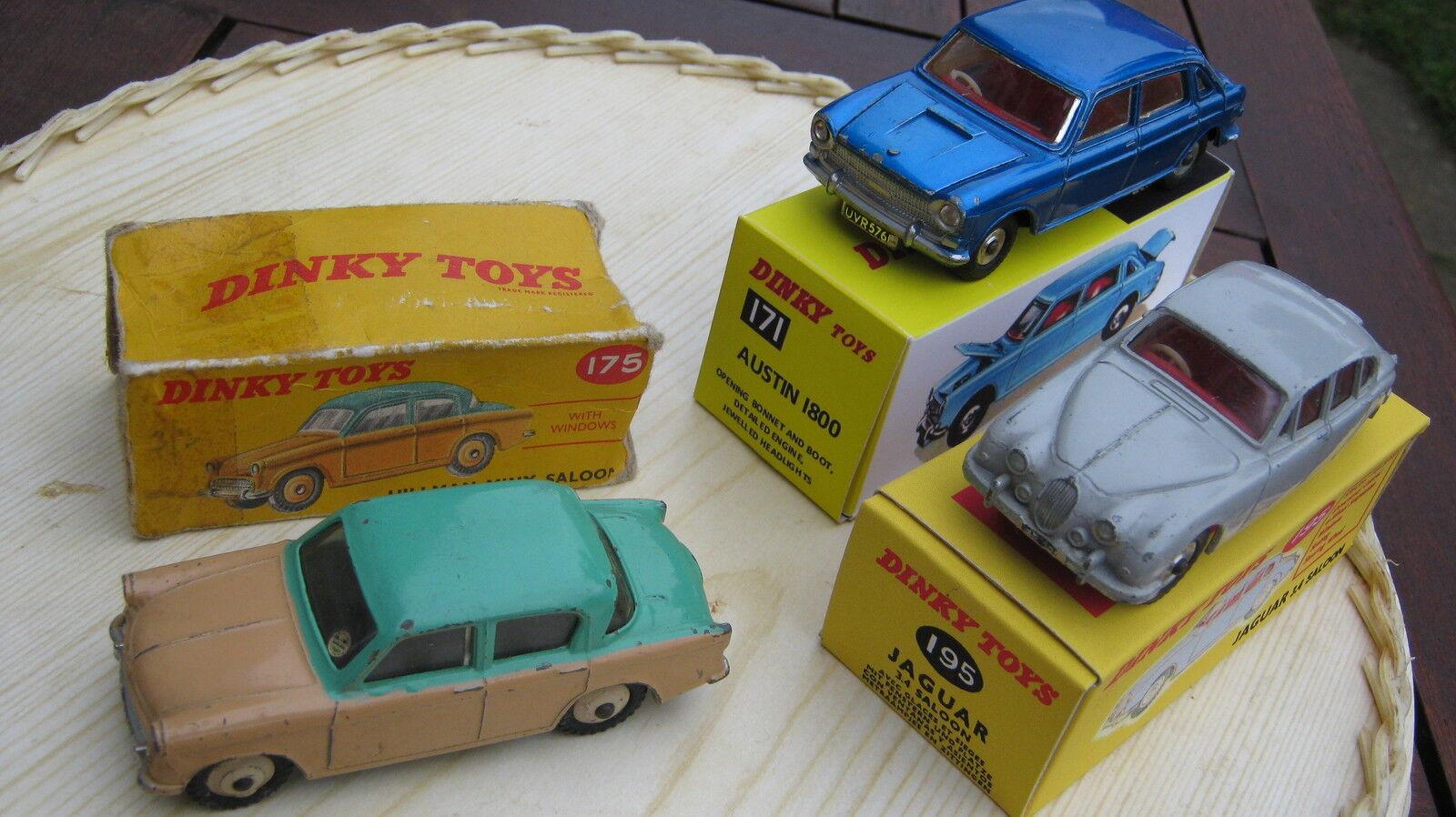 Dinky 171 175 195 original légèrement playworn voitures en 2 repro & 1 no extrémités origbox