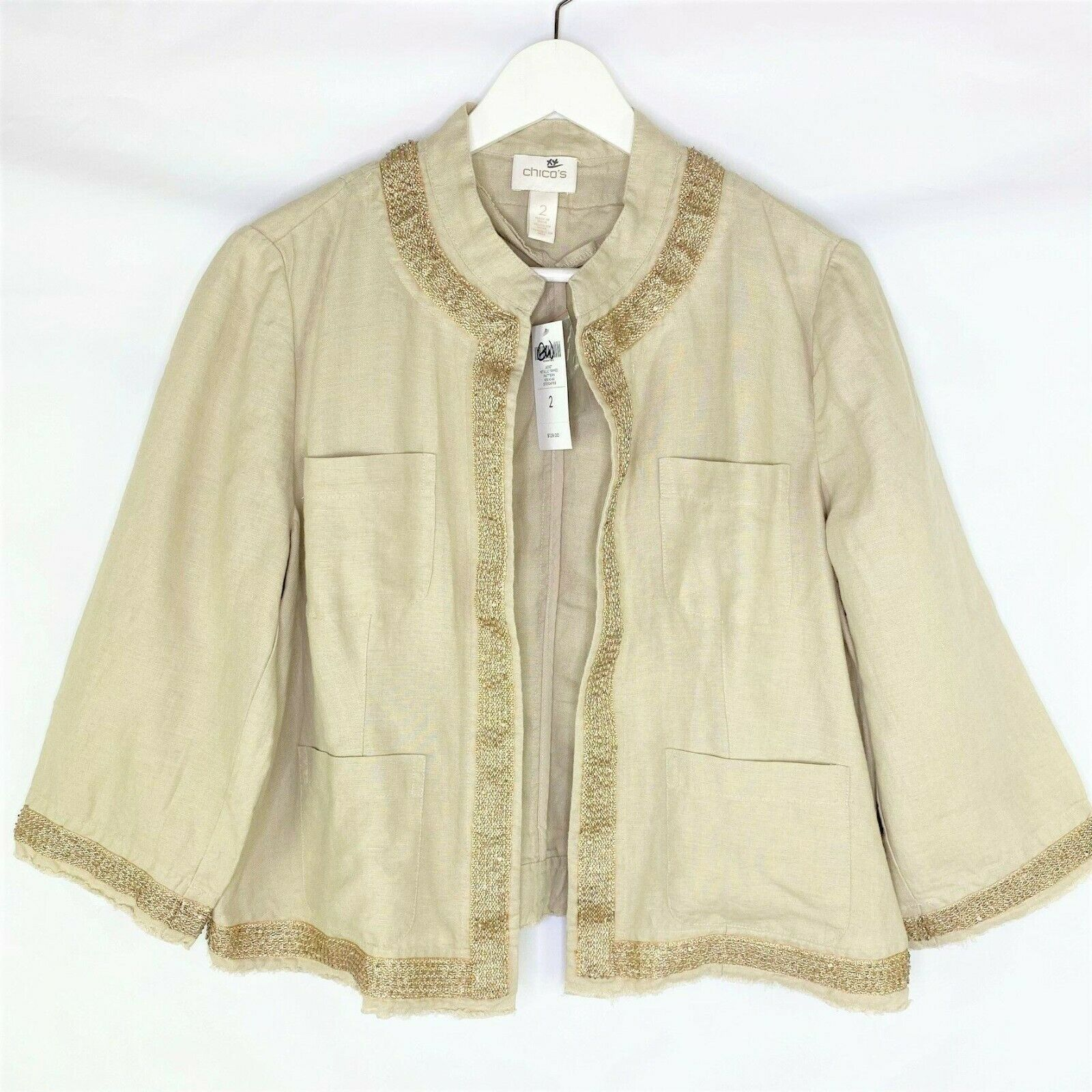 NWT Chico's 100% Linen Open Front Jacket w/ Gold Beaded Trim Size 2 (L/12)