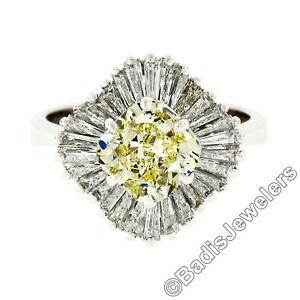 18k White Gold GIA 3.25ctw Fancy Yellow & Baguette Diamond Ballerina Ring