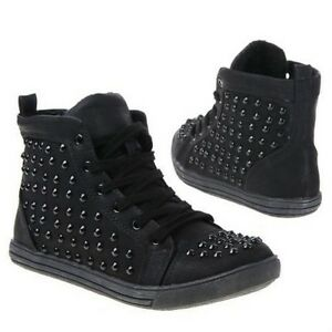 NEW-LADIES-WOMEN-HIGH-TOP-Diamante-CANVAS-SNEAKERS-LACE-UP-ANKLE-PLIMSOLLS-BOOTS