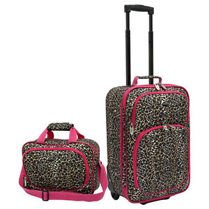 US Traveler Fashion Carry-on Pink Leopard Suitcase Rolling Luggage ...