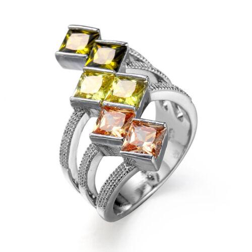 Square Style Natural Morganite Peridot Lemon Topaz Gemstone Silver Ring Sz 6-10