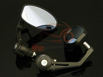 """BLACK MOTORCYCLE 7/8"""" HANDLE BAR END MIRRORS FOR BOBBER CLUBMAN CAFE RACER BUELL"""