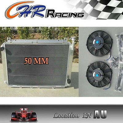aluminum radiator for Nissan GQ PATROL Y60 4.2L Petrol MT TB42S TB42E + 2 × fans