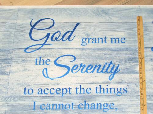 "God grant me the Senerity Prayer Religious Fabric Panel 23/""  #C7250-BLU"