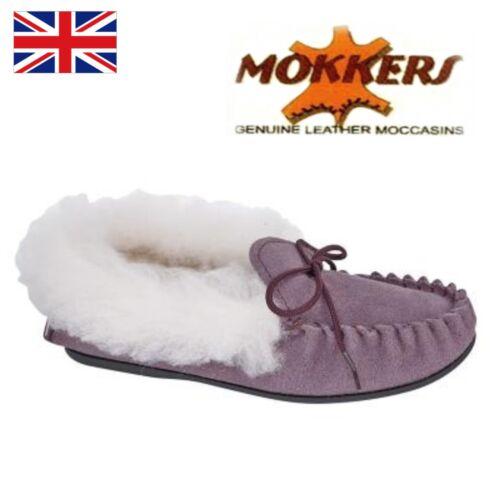 MOKKERS Kirsty GIRL/'S Moccasin thermique Slipper-Prune Véritable Daim Outdoor Semelle