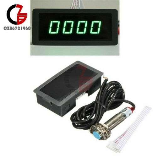 Tachometer 4-Digital LED Tach RPM Speed Meter W//Hall Proximity Switch Sensor