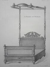 LIT à colonnes et  BALDAQUIN GRAVURE le MAGASIN de MEUBLES Victor QUETIN XIXéme