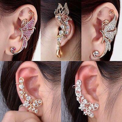 1pcs Punk Butterfly Crystal Rhinestone Flower Ear Cuff Wrap Clip-on Stud Earring