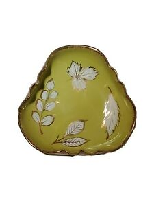 "Ceramic Candy Dish Maple Leaf Leaves Lime Green Gold Trim 6"" Vintage MCM Ashtray"