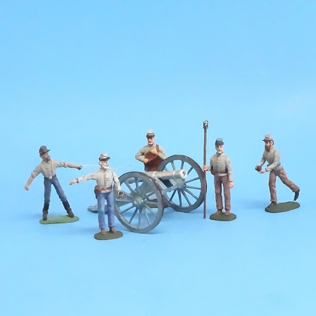 CORD -3036 - Confederate konstilleri Crew (5 Figures) och Gun (Okänd tillverkare