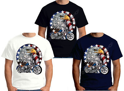 Velocitee Mens T-Shirt USA Classic Motorcycle With Eagle Harley Biker A00237
