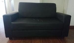 Divano divanetto da ufficio imbottito finta pelle nero cm 130 da sala attesa