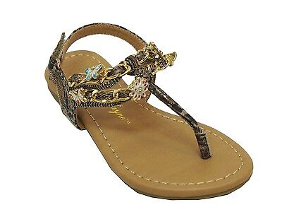 Sarah Jayne Youth Tween Girls Shore Sandals Taupe New!