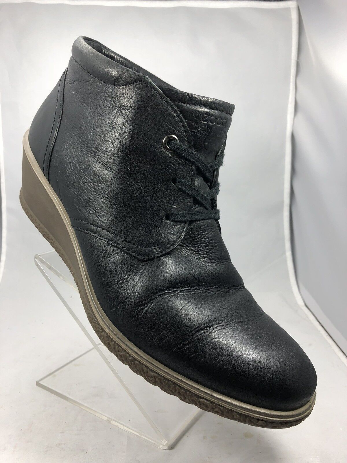 ECCO Wedge Soft Leather Lace Up Plain Toe Navy bluee Causal shoes Ankle Boots