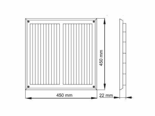 Graphite Air Vent Grille 450 mm x 450 mm avec moustiquaire Conduit Ventilation Housse