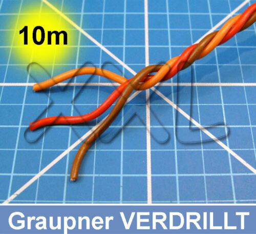 10m Servokabel Graupner verdrillt 3x0,25mm flexibel Servolitze Servo Kabel Litze
