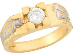 10k-or-14k-Two-Toned-Gold-0-48ct-White-CZ-Round-Solitaire-Cute-Baby-Ring
