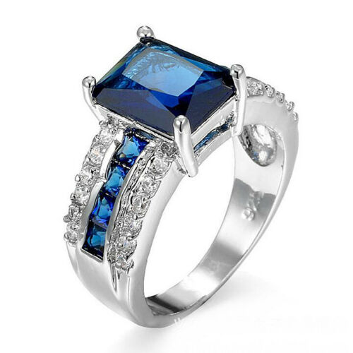 Multi Gems Solid Silver London Blue Topaz AAA Zircon Silver Wedding Ring Sz 6-10