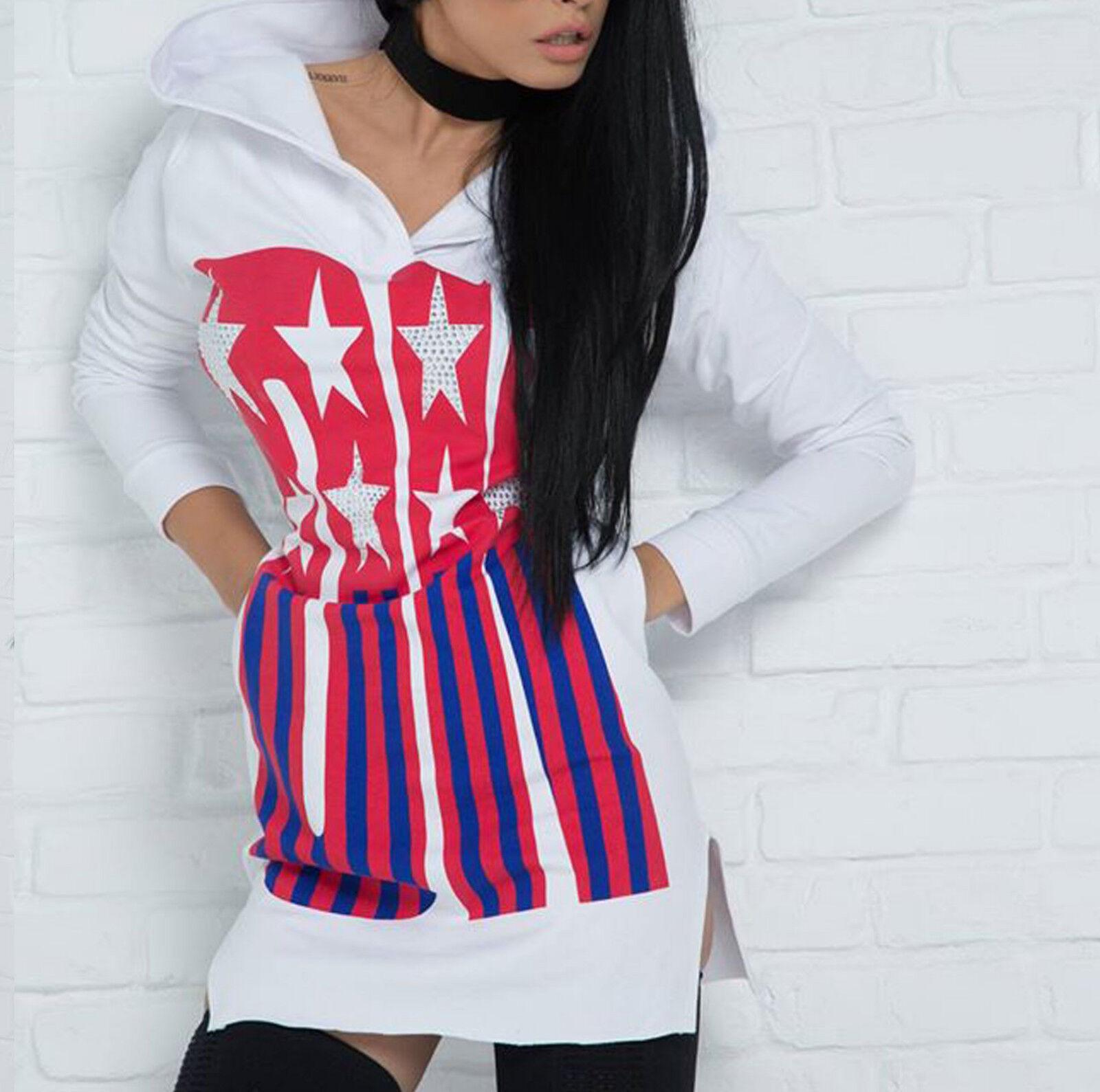 By Alina Abito Da Donna Pullover Camicia Lunga Abito vestito Hoddie DRESS PRINT Bianco XS-M